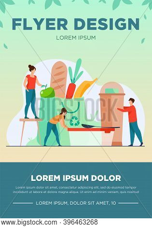 People Shopping With Eco Friendly Bag Flat Vector Illustration. Sustainable Plastic And Organic Food