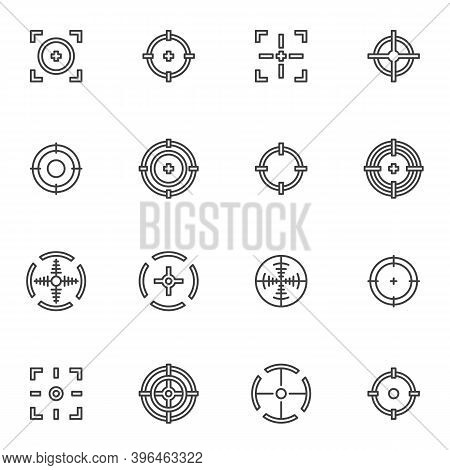 Target And Crosshair Line Icons Set, Outline Vector Symbol Collection, Linear Style Pictogram Pack.