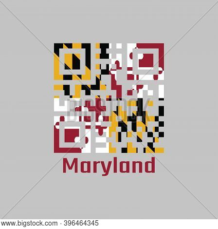 Qr Code Set The Color Of Maryland Flag. The States Of America, Heraldic Banner Of George Calvert, 1s