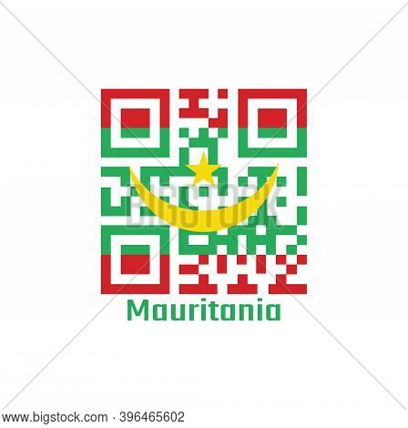 Qr Code Set The Color Of Mauritania Flag. Two Red Stripes Flanking A Green Field With A Golden Cresc