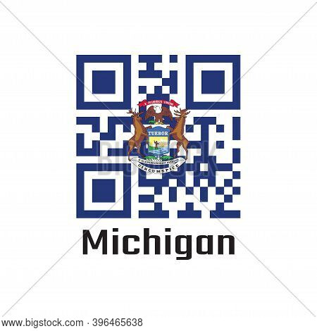 Qr Code Set The Color Of Michigan Flag, State Coat Of Arms On A Dark Blue Field. Text: Michigan. The