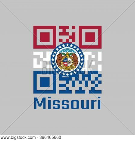 Qr Code Set The Color Of Missouri Flag. The States Of America. The Missouri Seal, Surrounded By A Bl