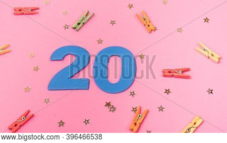 Number 20, 20 Birthday Celebration, 20 Years Anniversary, Pink Background
