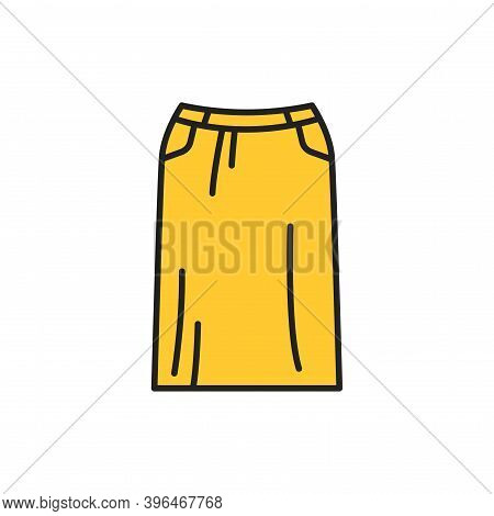 Straight Skirt Color Line Icon. Pictogram For Web Page, Mobile App, Promo.