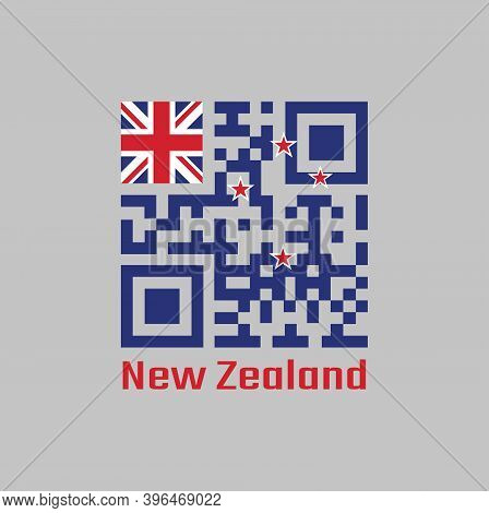 Qr Code Set The Color Of New Zealand Flag. A Blue Ensign With The Southern Cross Of Four Stars Centr