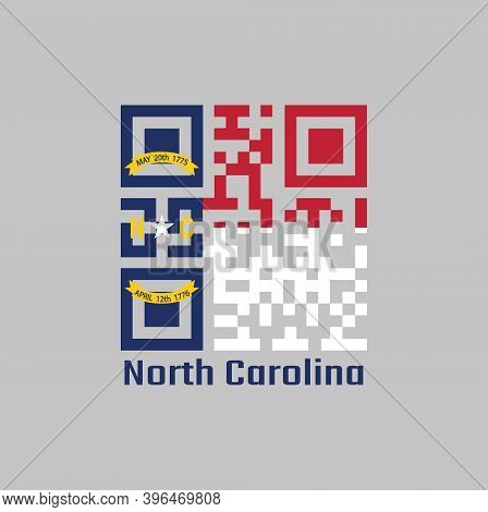 Qr Code Set The Color Of North Carolina Flag. A Blue Union, A White Star With N And C, The Circle Co