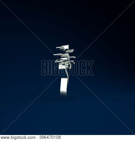 Silver Magic Staff Icon Isolated On Blue Background. Magic Wand, Scepter, Stick, Rod. Minimalism Con
