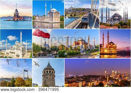 Famous Place Of Istanbul, Turkey In The Collage