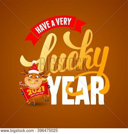 Cute Cheerful Cartoon Ox, Which Chewing Candy Cane, Symbol New 2021 Year By Eastern Calendar, And Le