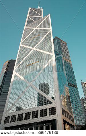Hong Kong Island, Hong Kong, China, Asia - November 10, 2008: The Bank Of China Skyscraper Designed