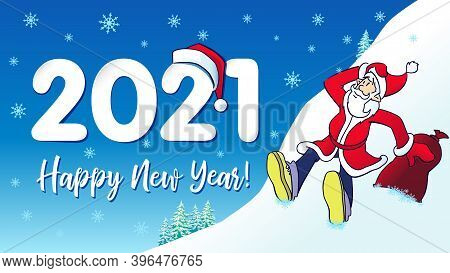2021 Santa Hipster Happy New Year Card. Christmas Banner Design With Santa Claus, Numbers 20 21 In R