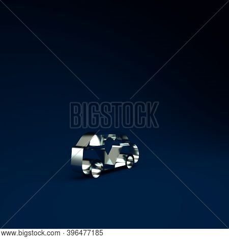 Silver Luxury Limousine Car Icon Isolated On Blue Background. For World Premiere Celebrities And Gue