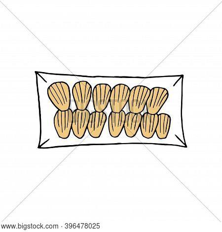 Vector Hand Drawn Madeleine. French Cuisine Dessert. Design Sketch Element For Menu Cafe, Bistro, Re
