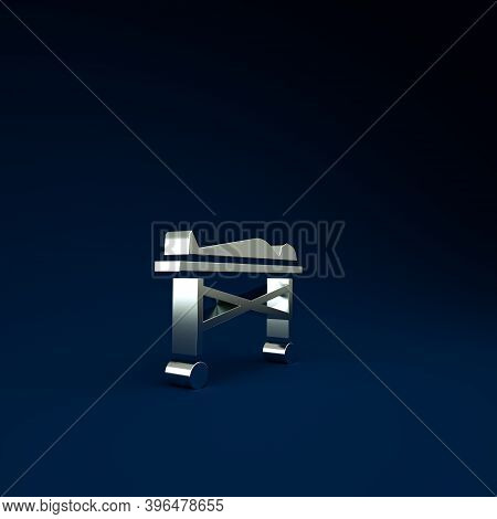 Silver Dead Body In The Morgue Icon Isolated On Blue Background. Minimalism Concept. 3d Illustration