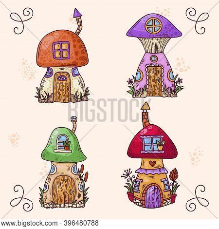 Mushroom Fairy Tale Colorful Cartoon Houses Vector Illustrations Set