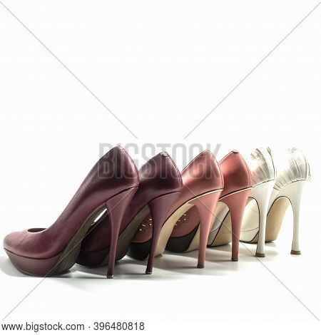 Women's Shoes Made Of Genuine Leather With High Heels And Platform Stand In A Row. Cherry Color, Pin