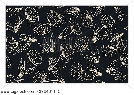 Beautiful seamless floral pattern with poppies. Black and white floral texture for printing on paper, fabric, textiles, for production. Contrasting, abstract design.
