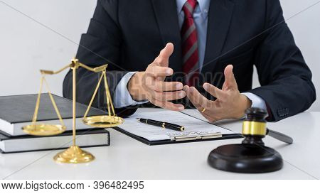 Professional Secretary Lawyer Working At His Office Signing Contract Consultation Of Client From Tru