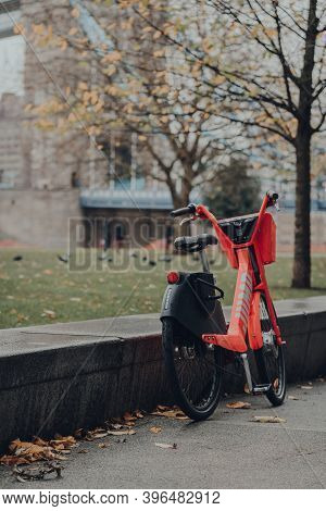 London, Uk - November 19, 2020: Jump Bike Parked On A Street In London. Lime Acquired Jump, The Elec