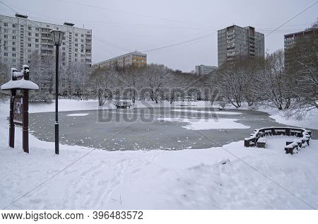 The Recently Frozen City Pond. Moscow, Russia. Pre-winter. End Of November.