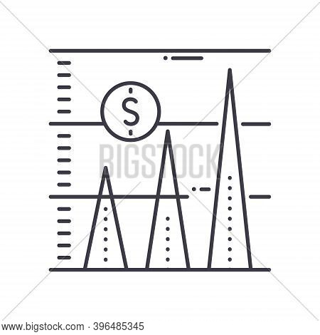 Financial Forecast Icon, Linear Isolated Illustration, Thin Line Vector, Web Design Sign, Outline Co