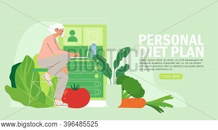 Woman Sits Plans Her Diet Online Or In Application. Concept Of Healthy Eating, Personal Diet Or Nutr