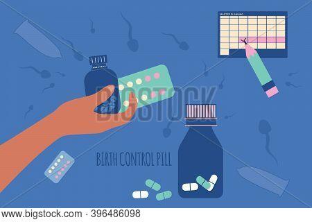 Birth Control Pill And Condoms Concept.world Contraception Day. Prevention Hiv.spermatozoa Swim Arou
