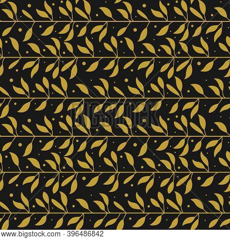 Vector Seamless Pattern With Gold Horizontal Foliate Lines On Black Background; Abstract Foliate Bra