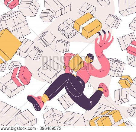 Ocd Vector Concept Illustration With Man Buying Things In Boxes. Outline Scene In Pink And Yellow Ab