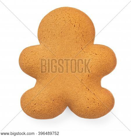 Gingerbread Man  Cookie With No Icing Isolated On White Background.  Empty Christmas Gingerbread Pas