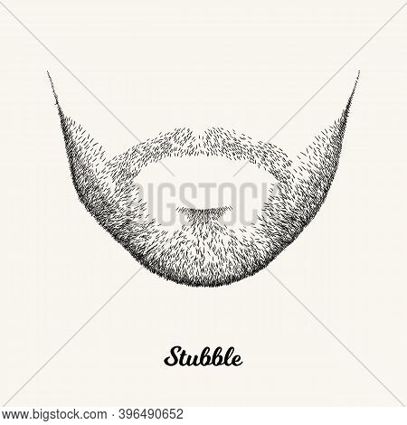 Male Stubble. Simple Linear Illustration With Fashionable Men Hairstyle. Contour Vector Background W