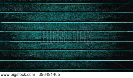 Turquoise Background Texture The Fence, Siding. Plastic Fence Turquoise Striped. Web Panorama Banner