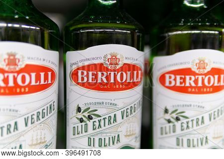 Tyumen, Russia-october 11, 2020: Bottles Of Extra Virgin Olive Oil From The Italian Food Brand Berto
