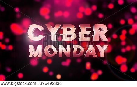 Cyber Monday Sale Purple Banner. Cyber Offer Online Sale Event. 3d Rendering. Glitter Sparkles And T