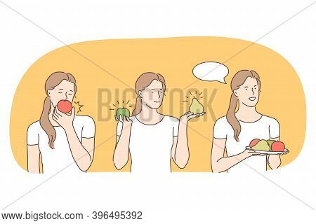 Healthy Food, Clean Eating, Vegetarian Diet Concept. Young Positive Woman Eating Fresh Apple, Pear,