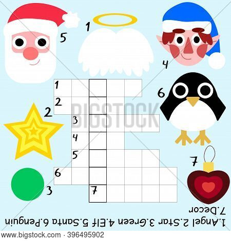 Christmas Crossword For Kids Stock Vector Illustration. Funny Educational Children Word Game In Engl