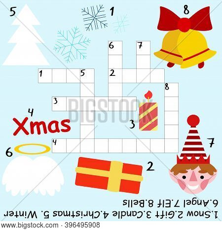 Educational Christmas Crossword Game For Kids Stock Vector Illustration. Funny Children Crossword Wi