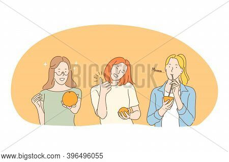 Healthy Food, Clean Eating, Vegetarian Diet Concept. Young Positive Woman Eating Fresh Orange And Dr