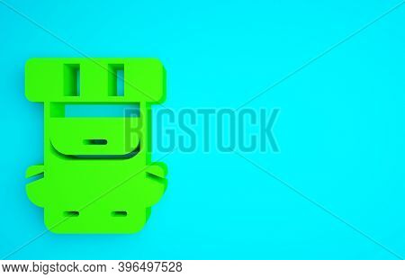 Green Hiking Backpack Icon Isolated On Blue Background. Camping And Mountain Exploring Backpack. Min