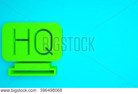 Green Military Headquarters Icon Isolated On Blue Background. Minimalism Concept. 3d Illustration 3d