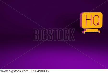 Orange Military Headquarters Icon Isolated On Purple Background. Minimalism Concept. 3d Illustration