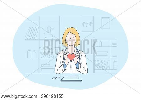 Health And Medicare Concept. Smiling Woman Doctor In Medical Uniform Sitting And Holding Red Heart I