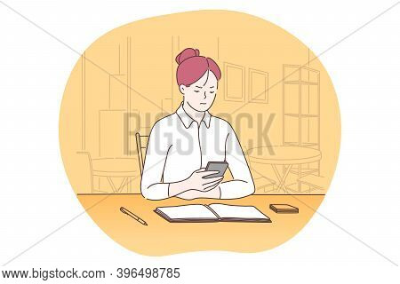 Smartphone, Online Communication, Chatting Concept. Young Business Lady Sitting In Office With Smart