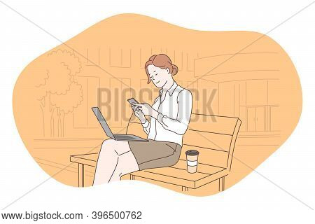 Smartphone, Online Communication, Chatting Concept. Young Business Woman Sitting On Bench With Coffe