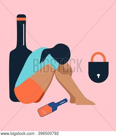 Lonely Alcoholic Woman Sits On The Floor.addiction,problems With Drinking.lock,giant Wine Bottle.con