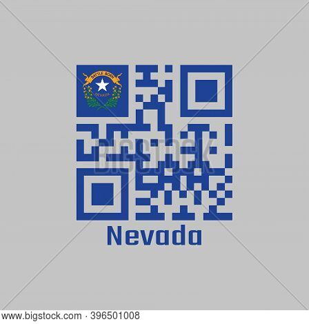 Qr Code Set The Color Of Nevada Flag. Solid Cobalt Blue Field And Coats Of Arm On The Canton With Te