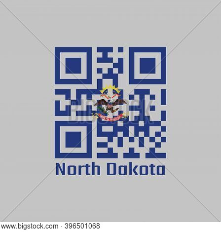 Qr Code Set The Color Of North Dakota Flag. The States Of America. Flag Of The Unit By State Troops