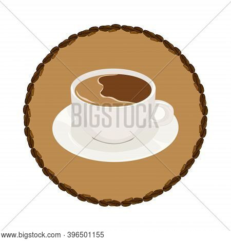 Logo Coffee Mug On A Brown Background Of The Circle. Logo In The Ornament Of The Coffee Beans. Hand