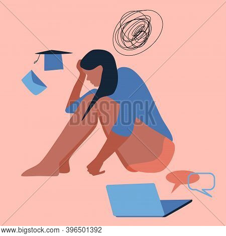 Young Woman Sits On The Floor, Clutching Her Head. Professional Burnout, Dismissal, Failure Of Exams
