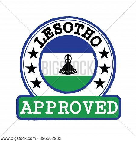 Vector Stamp Of Approved Logo With Lesotho Flag In The Round Shape On The Center. Grunge Rubber Text